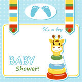 Baby arrival card. With pyramid . Vector illustration stock illustration