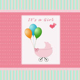 Baby arrival card. Happy card for newborn baby Royalty Free Stock Images