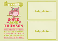Baby Arrival Card. With Cute Owl - with place for your text and photo - in Stock Photos