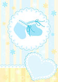 Baby arrival card. Blue. Stock Photo