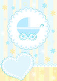 Baby arrival card. Blue. Royalty Free Stock Images
