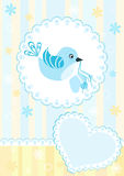 Baby arrival card. Blue bird. Stock Image