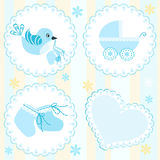 Baby arrival card. Blue. Design elements. Royalty Free Stock Images