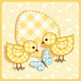 Baby arrival card. Chickens. Royalty Free Stock Photo
