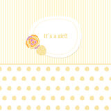 Baby arrival card  a cute girl. Baby arrival card with  flowers cute girl Royalty Free Stock Photography