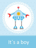 Baby arrival card with cute little robot. Cute baby arrival card with funny little robot stock illustration