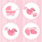 Baby arrival card. Design elements. Vector illustration Royalty Free Stock Photos