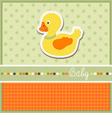 Baby arrival card. With duckling Stock Photography