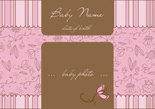 Baby Arrival Card with Frame Stock Photos