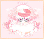 Baby arrival card for girl Royalty Free Stock Photos