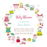 Baby Arrival Card. Baby Girl Shower or Arrival Card with Place for your text in vector Royalty Free Stock Photo
