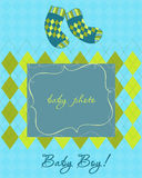 Baby Arrival Card with Photo Frame. Baby Arrival Card with socks and Photo Frame Stock Image