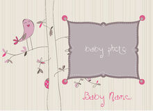 Baby Arrival Card with Photo Frame. In Royalty Free Stock Photo