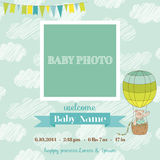 Baby Arrival Card with Photo Frame. Air Balloon and Cute Bear Theme -  in vector Royalty Free Stock Photography