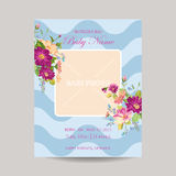 Baby Arrival Card with Photo Frame. Blossom Flowers Theme - in vector Royalty Free Stock Images