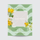 Baby Arrival Card with Photo Frame - Blossom Flowers. Theme - in vector Stock Image