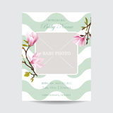 Baby Arrival Card with Photo Frame - Blossom Magnolia Flowers Stock Images