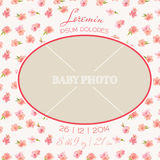 Baby Arrival Card. With Photo Frame and Floral Blossom Design -  in vector Royalty Free Stock Photography