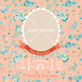 Baby Arrival Card. With Photo Frame and Floral Blossom Design -  in vector Stock Images