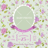 Baby Arrival Card with Photo Frame Royalty Free Stock Photo