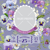 Baby Arrival Card with Photo Frame Royalty Free Stock Image