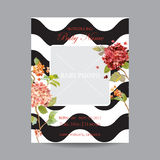 Baby Arrival Card with Photo Frame - Hortensia Flowers Theme Royalty Free Stock Photography
