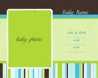 Baby Arrival Card with Photo Frames Royalty Free Stock Image