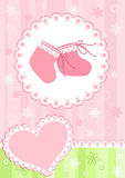 Baby arrival card. Pink. Baby arrival card. Vector illustration Royalty Free Stock Photography