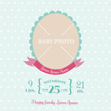 Baby Arrival Card - with place for your text and photo -  in vec Royalty Free Stock Photography