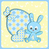 Baby arrival card. Rabbit. Royalty Free Stock Images