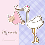 Baby arrival card with stork. That brings a cute girl Stock Images