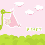 Baby arrival card with stork that brings a cute. Girl stock illustration