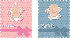 Baby arrival cards Royalty Free Stock Photo