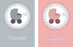 Baby arrival cards Stock Image