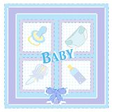 Baby arrival cards. Boy  Royalty Free Stock Photos