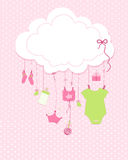 Baby arrival greeting card. Baby shower invitation newborn baby girl illustration. Vector royalty free illustration