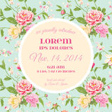 Baby Arrival or Shower Card. With Peony Flower Design - in vector Royalty Free Stock Photo