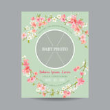 Baby Arrival or Shower Card. With Photo Frame and Floral Blossom Design - in vector Stock Images
