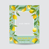 Baby Arrival or Shower Card - with Photo Frame and Floral Lemon Royalty Free Stock Images