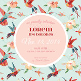 Baby Arrival or Shower Card. With Tropical Bird Flower Design - in vector Royalty Free Stock Image