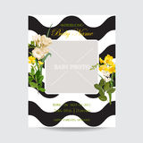Baby Arrival Summer and Spring Floral Card in Watercolor Style. Vintage Field Flowers. Baby Arrival Summer and Spring Floral Card in Watercolor Style. Vector Stock Images