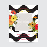 Baby Arrival Summer and Spring Floral Card in Watercolor Style. Vintage Field Flowers. Baby Arrival Summer and Spring Floral Card in Watercolor Style. Vector Royalty Free Stock Photos