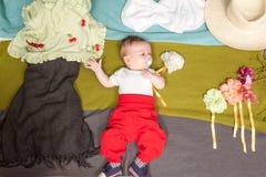 Baby as gardener Stock Photos