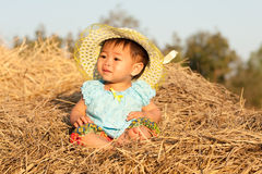 Baby of Asia sits on straw Royalty Free Stock Images