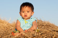 Baby of Asia sits on straw Stock Photos