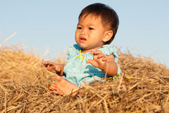 Baby of Asia sits on straw Stock Images