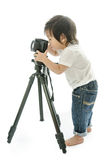 Baby asian boy with cameera Stock Images