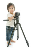 Baby asian boy with cameera Royalty Free Stock Photography