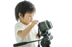 Baby asian boy with cameera Royalty Free Stock Photos