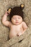 Newborn sleeping baby boy on blanket Royalty Free Stock Photos